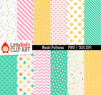 """Washi Patterns Digital Papers - """"Carousel"""" Color Scheme"""