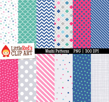 """Washi Patterns Digital Papers - """"Cosmos"""" Color Scheme"""