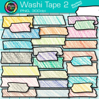 Rainbow Washi Tape Clip Art {Crayon Effect Strips for Digi