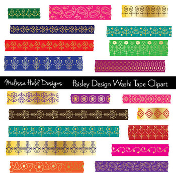 Washi Tape Clipart: Gold Paisley Patterns
