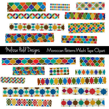 Washi Tape Clipart: Moroccan Tile Patterns