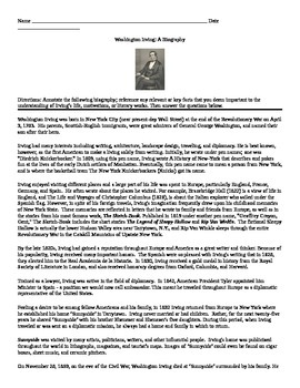 Washington Irving: Biography Annotate with Questions