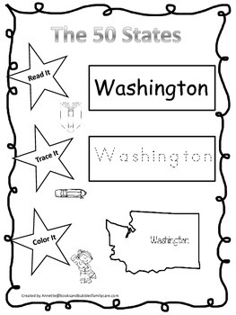 Washington Read it, Trace it, Color it Learn the States pr