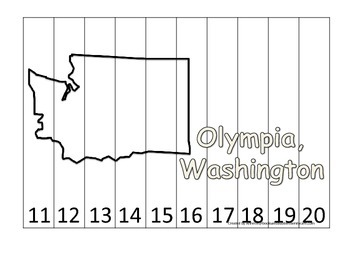Washington State Capitol Number Sequence Puzzle 11-20.  Ge