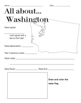Washington State Facts Worksheet: Elementary Version