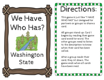 "Washington State History ""I Have Who Has"""