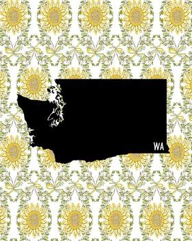 FREEBIE! Washington Vintage State Map or Poster Class Decor