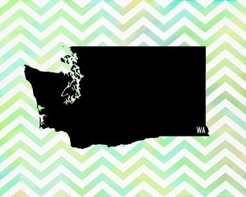Washington Chevron State Map Class Decor, Classroom Decoration