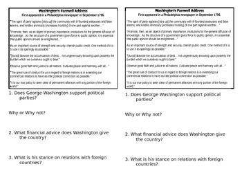Washington's Farewell-Read and Respond