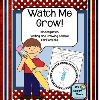 Watch Me Grow! Kindergarten Writing and Drawing Sample for