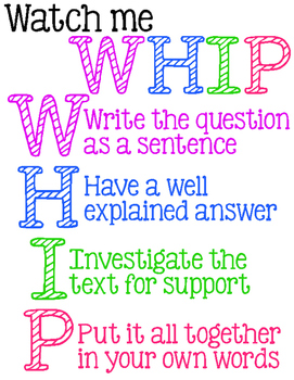 Watch Me Whip Constructed Response Printable Poster