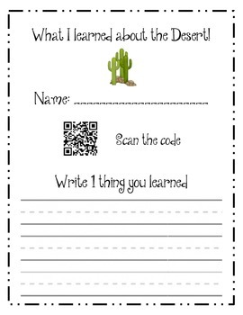 Watch and write about the desert - scan the QR
