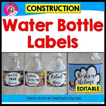 Water Bottle Labels (Construction Theme)
