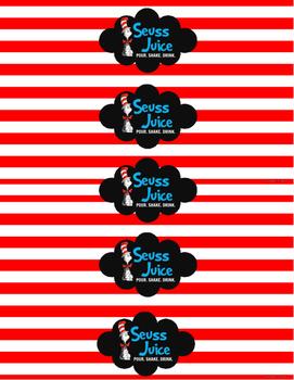 Water Bottle Labels for Dr. Seuss Celebration