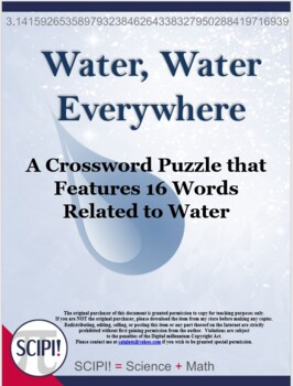 Water Crossword - Features 14 Words Associated with Water
