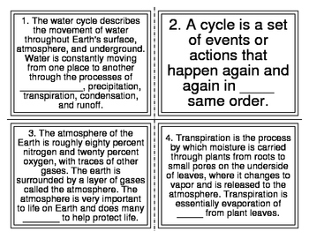 Water Cycle Cloze Task Cards (28 Cards) TEK 2.8C