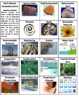 Water Cycle, Mineral, Rocks Vocabulary Game