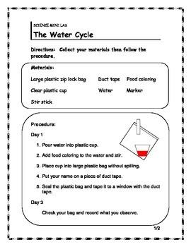 Water Cycle Mini Lab/ Info Sheet/ Word Search