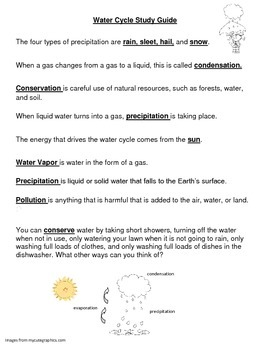 Water Cycle Study Guide, Quiz, and Answer Key