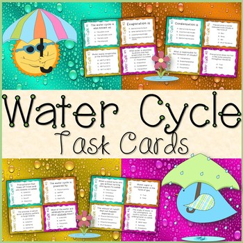 Water Cycle Task Cards Freebie (Colored & Black and White)