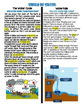 Water Cycle Unit (Paired Text, Sort, & Comprehension Check)