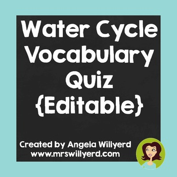 Water Cycle Vocabulary Assessment {Editable}