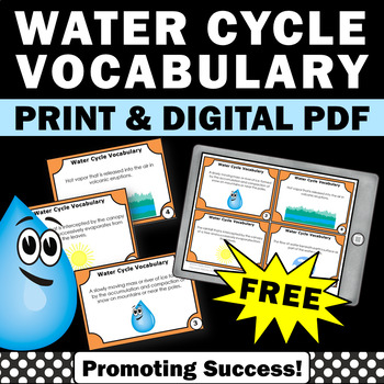 FREE Water Cycle Vocabulary Task Cards Science Center Acti
