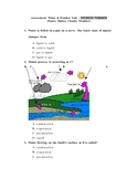 Water Cycle, Weather, Matter Assessment Student and Teache