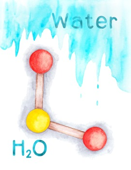 Water Molecule Poster Chemistry Molecular Structure H2O PD