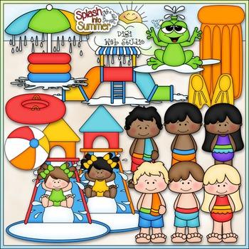 Water Park Fun Clip Art - Kids at the Water Park Clip Art