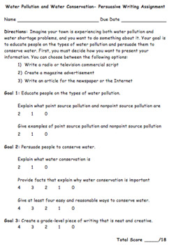 Water Pollution & Conservation Writing Assignment