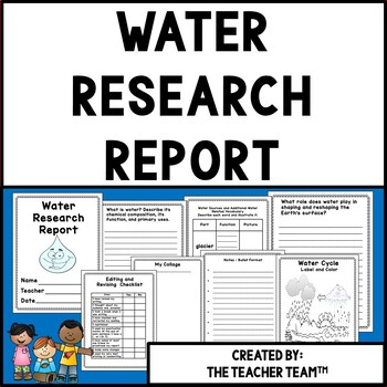 Water Cycle Research Report For Upper Elementary and Middl