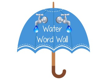 Water Word Wall Umbrellas- word and definition