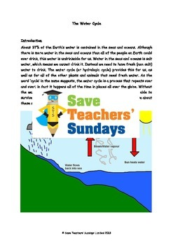 Water cycle Lesson plan, Text, Diagram worksheet and Flashcards