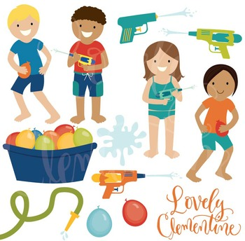 Water games clip art, summer clipart, water games vector