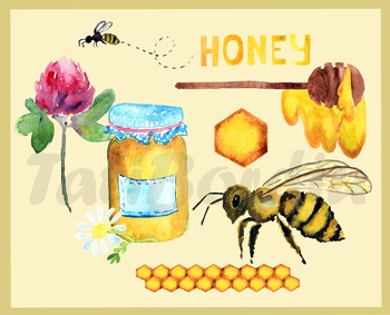 Waterclor Honey and Bee Clip Art