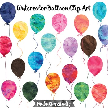 Watercolor Balloon Clip Art Set