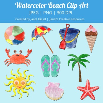 Watercolor Beach Clip Art Kit
