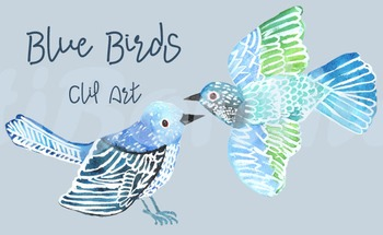 Watercolor Blue Birds - Clip Art - Printable