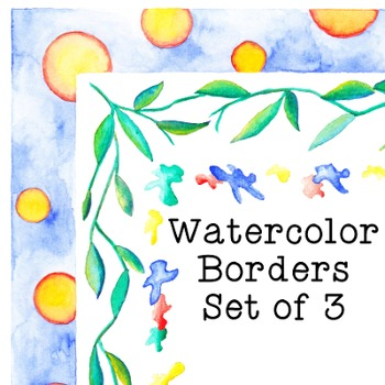 Watercolor Borders Clip Art Set of 3 PNG JPG Commercial or