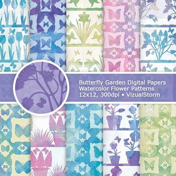 Watercolor Butterfly Garden Digital Papers, Printable Flow