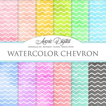 Watercolor Chevron Digital Paper bright watercolour patter