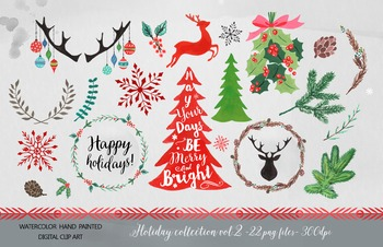 Watercolor Christmas clipart set - winter holiday