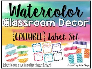 Watercolor Classroom Decor {EDITABLE Labels}