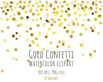 Watercolor Clipart, Digital Confetti, Printable, New Year,