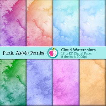 Watercolor Clouds Style Digital Paper Texture Set - Graphi