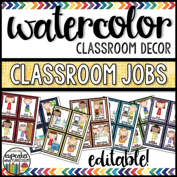 Watercolor Decor: Classroom Jobs Editable