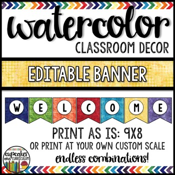 Watercolor Decor: Editable Banner