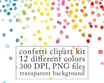 Watercolor Digital Clip Art, Confetti Border, birthday cli