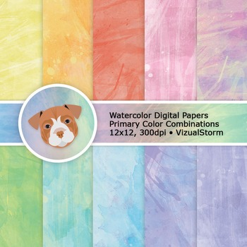 Watercolor Digital Paper, 10 Abstract Handmade Rainbow Col